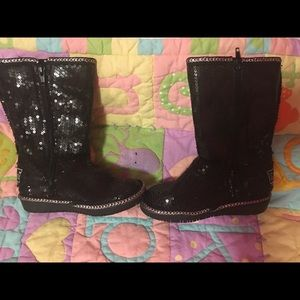 Skechers Sequin Toddler Black & Silver Boots